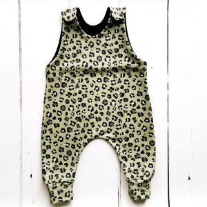 khaki leopard romper