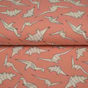 pink origami dino fabric