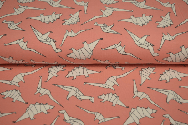 pink origami dino fabric