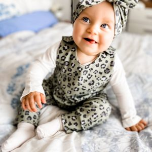 khaki leopard romper model
