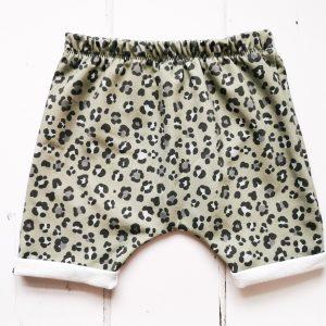 khaki leopard shorts