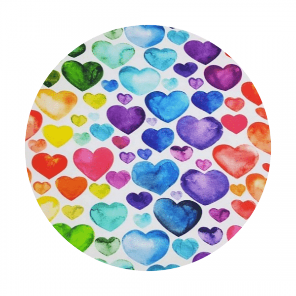 rainbow hearts fabric